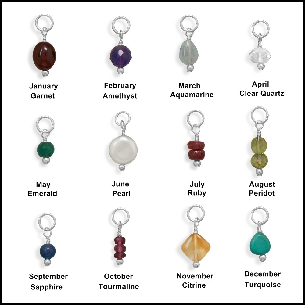October Birthstone Tourmaline Beads Charm