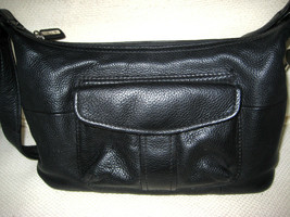 FOSSIL Pebbled Black Leather Shoulder Handbag + Matching Clutch Wallet -... - $49.49