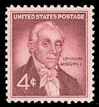 1959 4c Dr. Ephraim McDowell, Ovarian Operation, 150th Scott 1138 Mint F... - $0.99