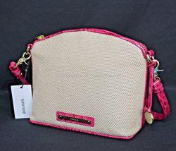 NWT Brahmin Mini Duxbury Shoulder Bag in Punch Harbor, Pink Leather/Beige Fabric image 10