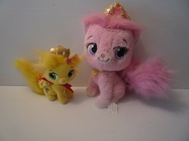 "Disney Pink Beauty Palace Pet 11"" Cat & Yellow Summer plush 6"" Cat Set of 2 - $7.92"