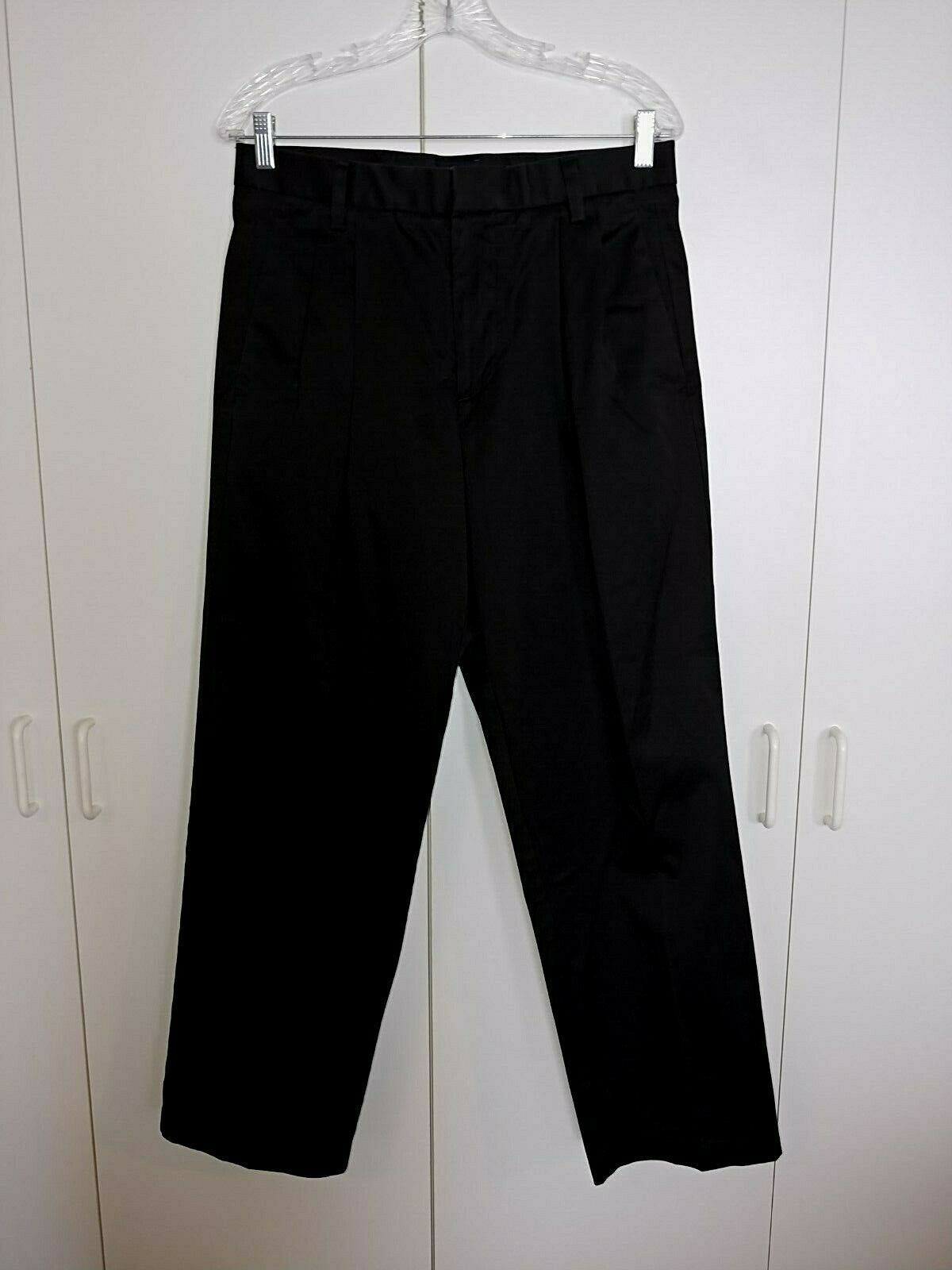 DOCKERS 03 CLASSIC FIT BLACK COTTON MENS PLEATED CASUAL PANTS-31X30-BARELY WORN