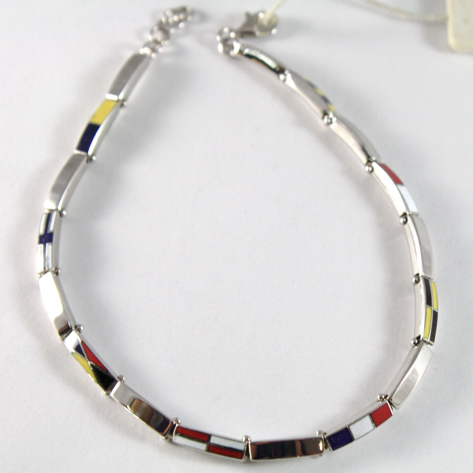 White Gold Bracelet 750 18K, Square Flags Nautical Glazed Tiles, 21 CM