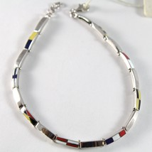 White Gold Bracelet 750 18K, Square Flags Nautical Glazed Tiles, 21 CM - $1,160.38