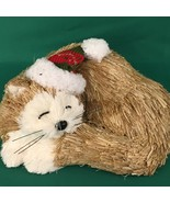 NEW Pier 1 Natural Bristle Curled Cat Christmas Decor Stocking Hat Brown... - $17.00