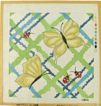 """Vintage Needlepoint Canvas Butterflies and Ladybugs (Yellow) 14 3/4"""" x 1... - $26.20"""