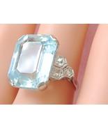 ART DECO 12 ct EMERALD CUT AQUAMARINE .25ctw DIAMOND PLATINUM COCKTAIL R... - $3,167.01