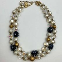 Vintage Crown Trifari Double Strand Beaded Necklace Aurora Borealis Faux Pearl - $69.25
