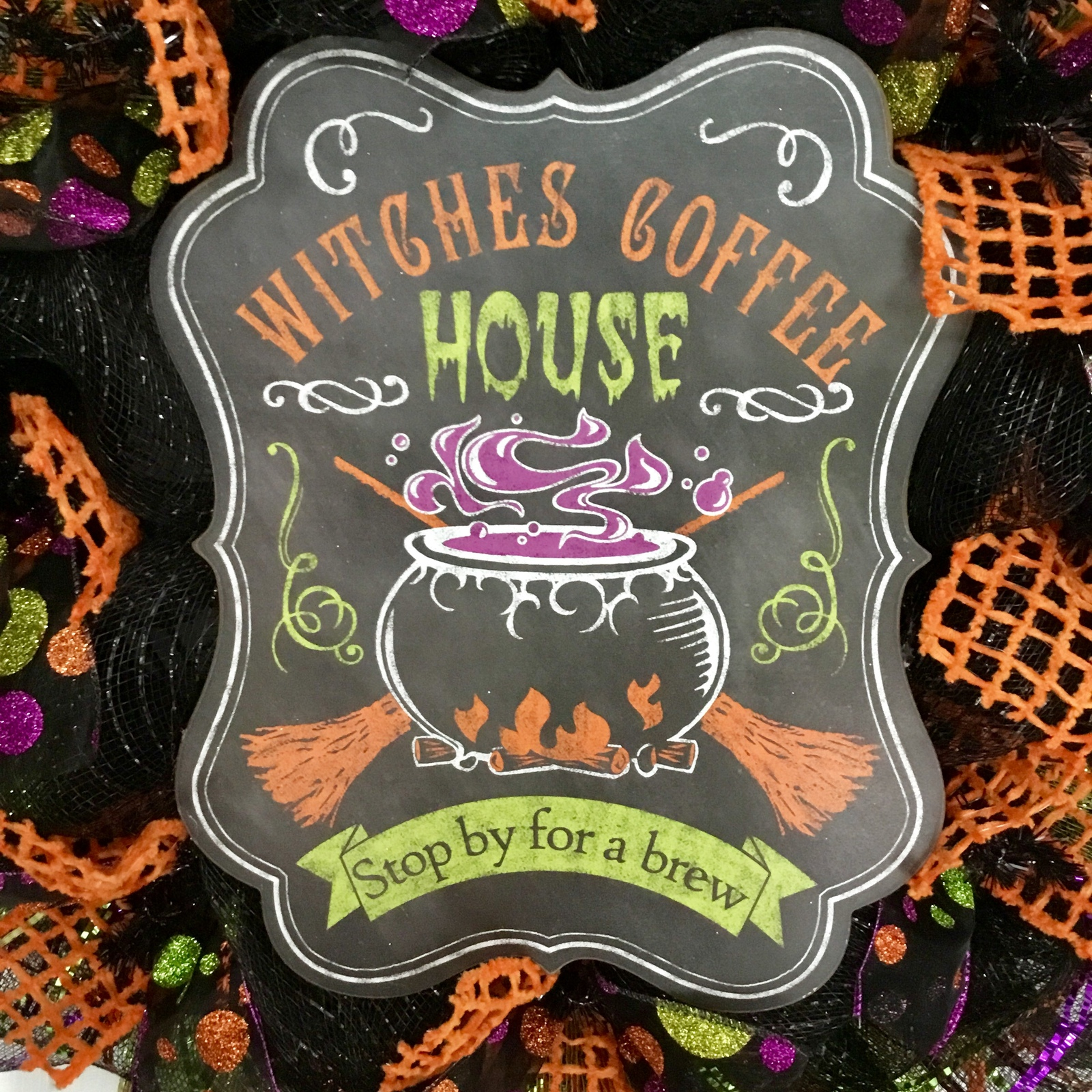 Witches Coffee House Stop By For A Brew Halloween Handmade Deco Mesh Wreath image 2