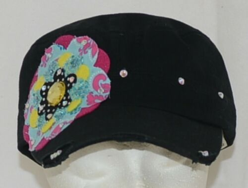 Pinky Bolle Brand Decorative Womans Hat Black Multi color Flower