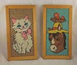 Pair MCM Gravel Pebbles Rock Kitten Donkey Framed Art Mid Century VTG  - $38.27