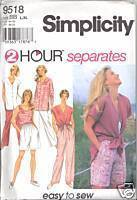 New 1990s Pants Shorts Top Simplicity 9518 Bust 40 42 44 46 Size  L XL Pattern Simplicity New Look