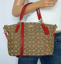 NWT COACH  KHAKI BROWN SMALL SATCHEL SIGNATURE CANVAS RED LEATHER CROSSB... - ₹9,872.00 INR