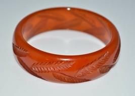 VTG BAKELITE Tested Orange Apple Juice Translucent Carved Leaf Bangle Br... - $198.00