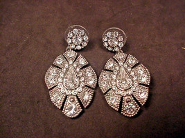 Carolee Art Deco Style Rhinestone Earrings Dangle Super Sparkle  - $29.69