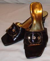 Etienne Aigner Slip On Wedge Heels Nova 8 M 8M Womens Shoes Open Toe Brown - $28.75