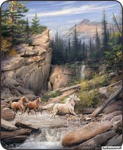 CANYON RUN HORSES Artist Collection Queen Soft Luxury SHERPA Bed Blanket... - $56.95