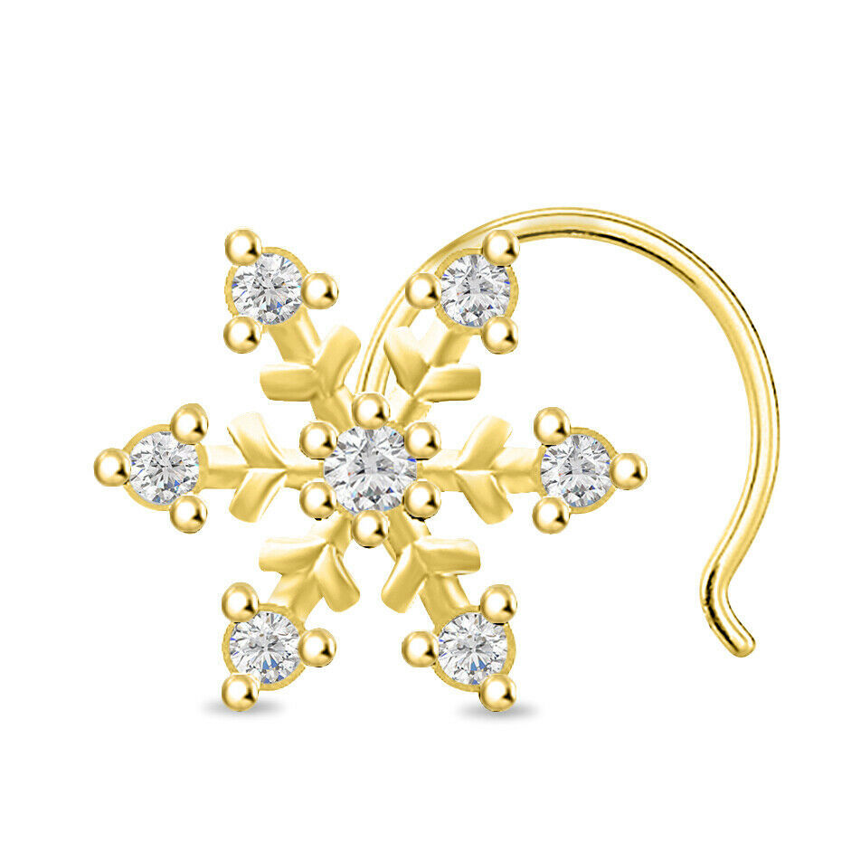 Primary image for 14k Yellow Gold Finish 0.84 ct Round Cut Diamond Cluster Flower Shape Nose Pin