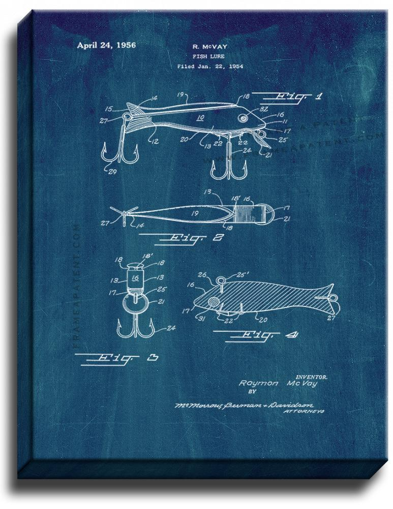 Primary image for Fish Lure Patent Print Midnight Blue on Canvas