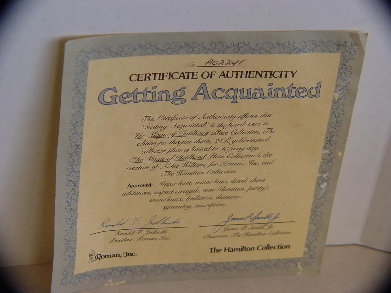 Getting Acuainted Hamilton Collection; Roman Inc w COA
