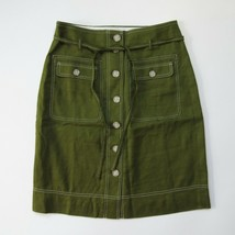 NWT J.Crew Button-up Skirt with Removable Belt in Olive Stretch Linen 10 - $44.00