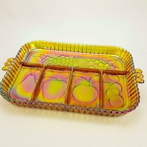 """Vintage Indiana Carnival Glass Fruit Iridescent Luster Relish Tray 11"""" P... - $19.34"""