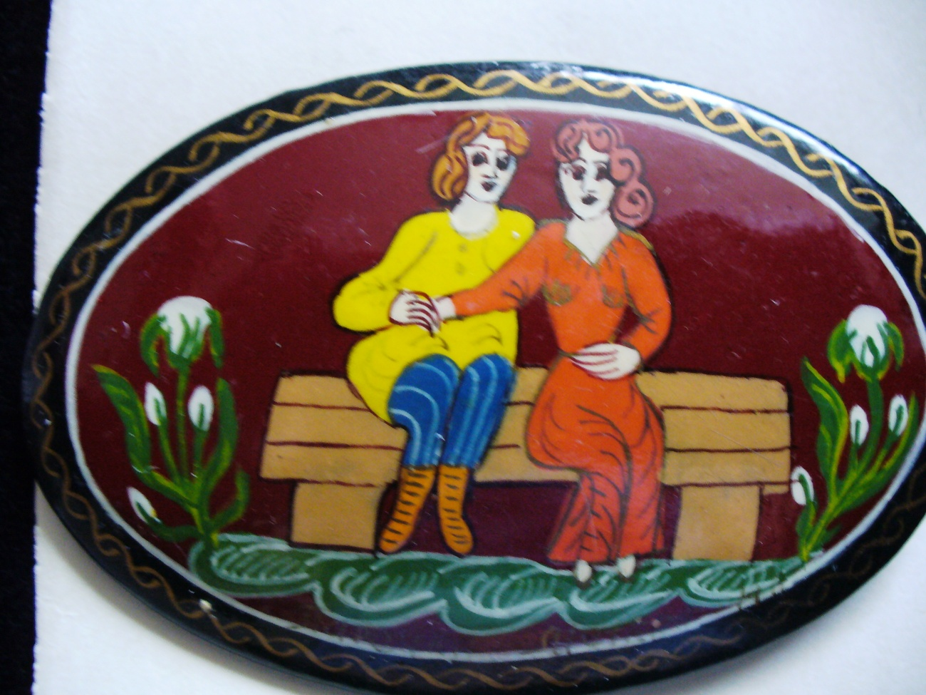 RussKiia Hand Painted Couple, Wooden Brooch
