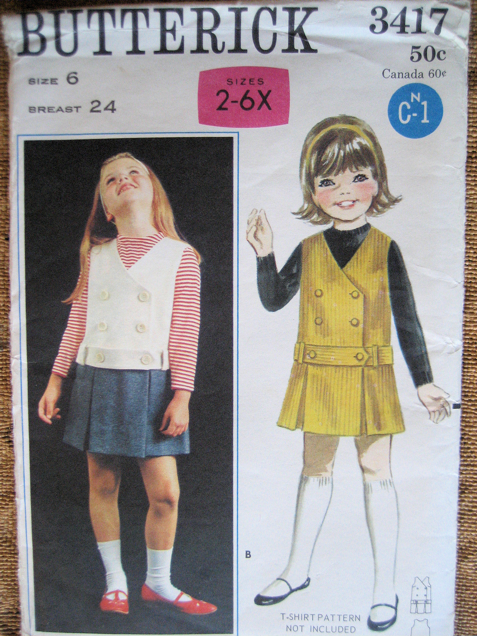 Butterick 3417 Vintage 1960s Pattern Girls Size 6 Low Waist Jumper