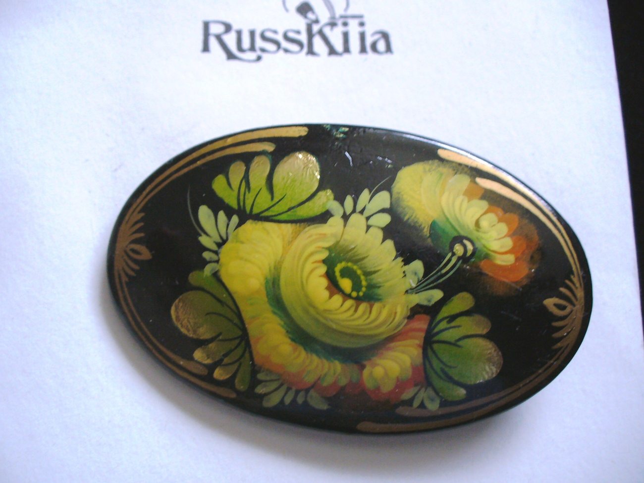RussKiia Hand Painted Yellow Rose Wooden Brooch