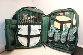 PICNIC AT ASCOT INSULATED SETTING FOR 4 GREEN BACKPACK PLUS THERMAL WINE... - $39.99