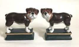 Vintage Cerámica Bulldog Par Estatua Sujetalibros Decor 2 Perro Estatuil... - $41.98