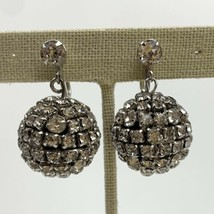 Kramer of New York Clear Rhinestone Disco Ball Drop Dangle Clip On Earri... - $98.95
