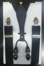 Uomo Donna 35MM Nero Y Bretelle Vera pelle Elastico Bottoni Pantalone UK - $10.27
