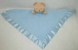 Magic Years baby blue fleece security blanket tan teddy bear rattle satin trim  - $14.84