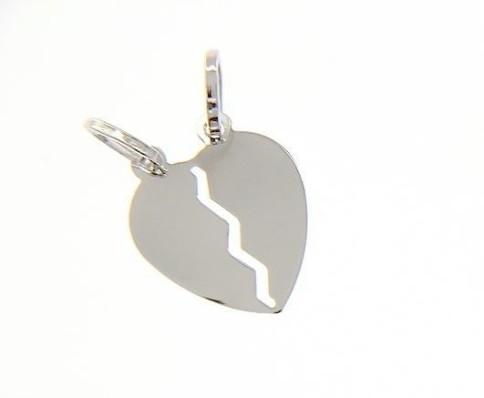 18K WHITE GOLD DOUBLE BROKEN HEART PENDANT CHARM ENGRAVABLE MADE IN ITALY