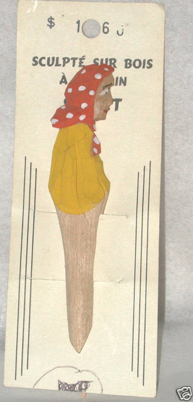 vintage Wood Carved Bookmark Lady wooden Figure Canada carving folk art
