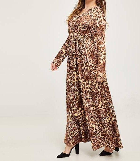 Self Tie V Neck Leopard Print Flared A Line Wrap Maxi Dress Plus Size Casual