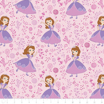 Disney Sofia The First Meadow Light Pink Camelot 100% cotton fabric by t... - $15.04