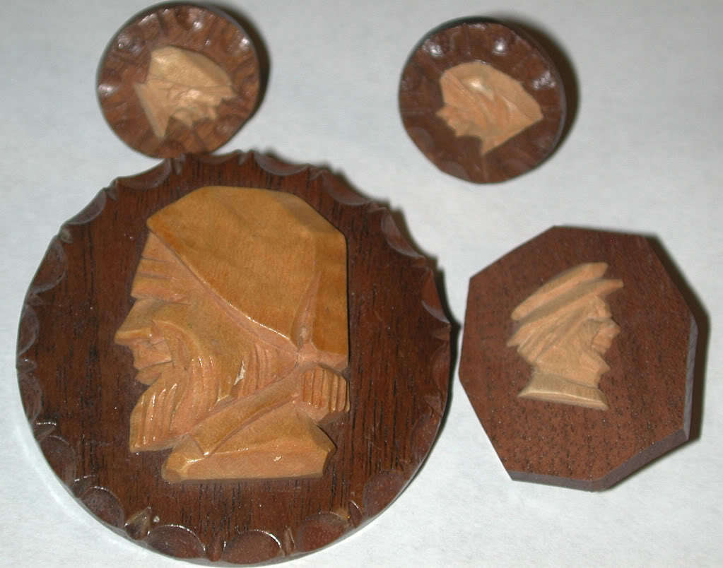 Primary image for Carved Wood Man Figure Pin/brooch Jewelry LOT Canada carving vintage