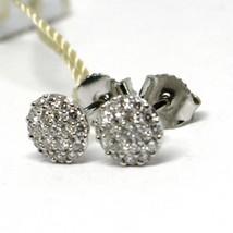 WHITE GOLD EARRINGS 750 18K, DIAMONDS CARAT 0.39, BUTTON, ROUND, pavÉ image 2