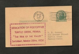 1938 Turtle Creek Pennsylvania Post Office Dedication Postcard Postmaste... - $8.91