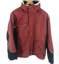 Columbia Cross Terra Ski Jacket Mens Medium Red Black Winter Hidden Hood... - $44.55