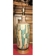 Large Vintage Brutalist Ceramic Pottery Lamp Mid Century Modern 60s 70s ... - $660.25