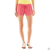 Arizona Soft Shorts Rouge Red Multi Juniors Size L New With Tags Msrp $30.00 - $9.99