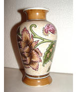 A Textured Decorative Contemporary  Oriental Vase -Brown, Purple Flowers - $3.99