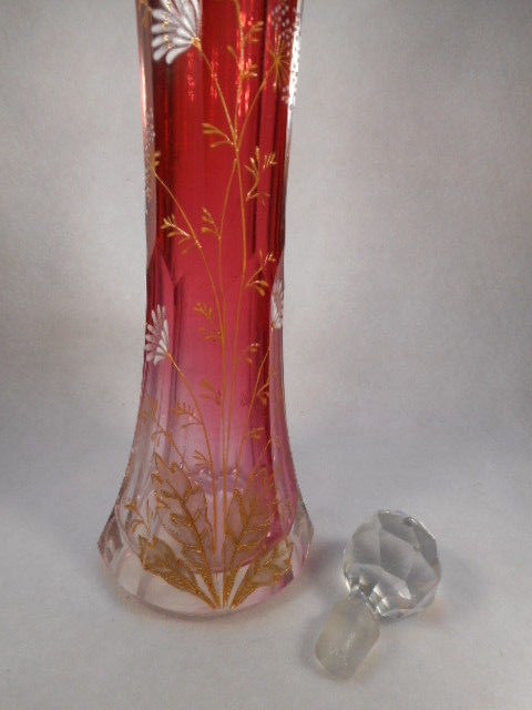 "Victorian 9"" Moser Hand Painted Barber Bottle Rubina Glass with Crystal Stopper"