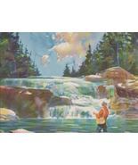 Nice Vintage Fly Fishing Print Watercolor Look ... - $14.99