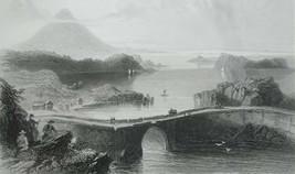IRELAND Bridge at Loch Conn - 1841 BARTLETT Antique Print - $19.80