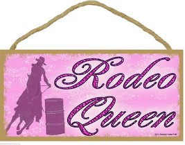 "Rodeo Queen Cowgirl Horse Western Style Pink 5""x10"" Sign Plaque - $12.86"