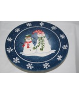 Pacific Rim Blue Blizzard Snowman Footed Cake Plate   #2196 - $54.00